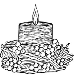 candle - coloring page for adults graphic ink vector image