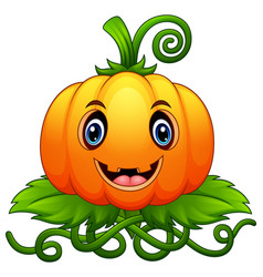 Cartoon pumpkin with green leaves vector