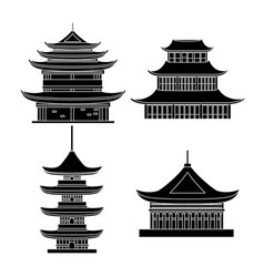 cartoon silhouette black traditional asian house vector image