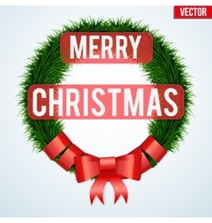 Christmas wreath greetings vector