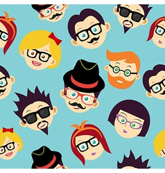 Colorful vintage hipsters faces seamless pattern vector image
