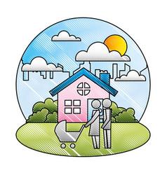 couple parents with bapram home city vector image