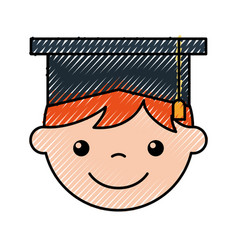 Cute boy graduated icon vector