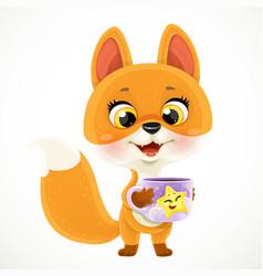 cute cartoon baby fox with a cup tea or coffee vector image