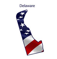 Delaware full american flag waving in wind vector