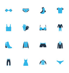 dress icons colored set with pants boots suit vector image