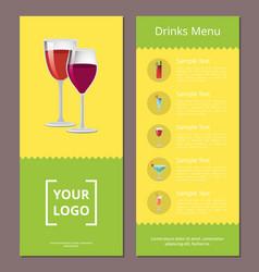 Drink menu advertisement poster design alcohol vector