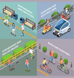 eco transportation concept icons set vector image