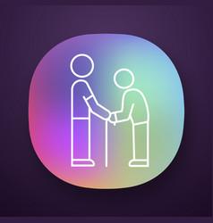 Elderly people help app icon volunteer vector