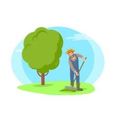 farmer raking grass in garden cartoon icon vector image