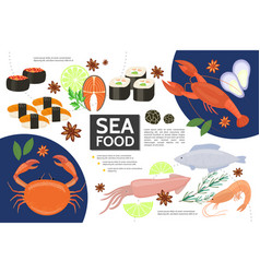 flat seafood infographic concept vector image