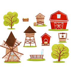 Flat set of farm icons buildings vector