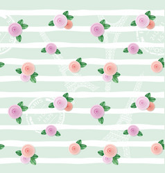 Floral seamless pattern with eiffel tower stamps vector