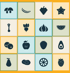 food icons set with strawberries blueberry vector image
