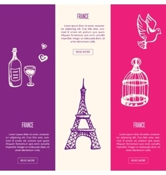 France Touristic Vertical Web Banners vector image