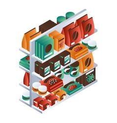 full supermarket shelf icon isometric style vector image