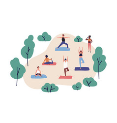 Funny people practicing yoga in park group vector