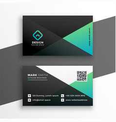 geometric elegant turquoise color business card vector image