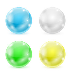glass balls colored 3d shiny sphere vector image