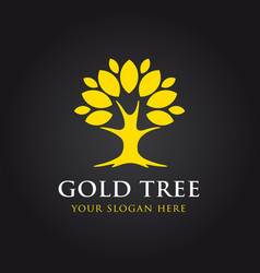 gold tree logo vector image