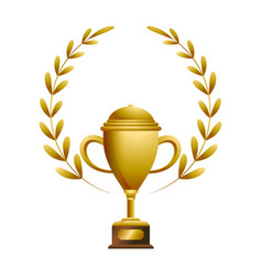 gold trophy with laurel whreat vector image