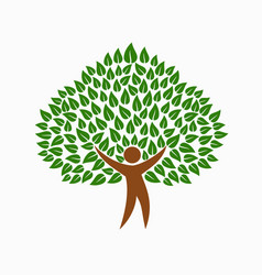 Green environment people tree concept symbol vector