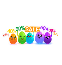 group of colorful cartoon easter eggs holding sale vector image