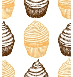 hand drawn cupcake background vector image
