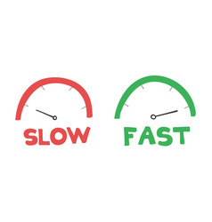 Hand-drawn speedometers slow and fast vector
