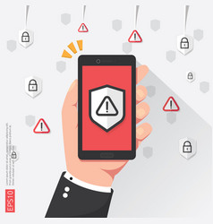 hand holding phone with attention warning alert vector image