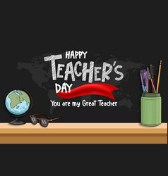 Happy teacher day with red ribbon world map vector