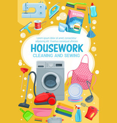 House cleaning laundry washing and sewing vector