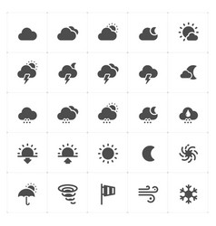 icon set - weather and forecast filled icon style vector image