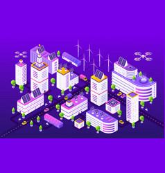 Isometric smart city modern futuristic neon town vector
