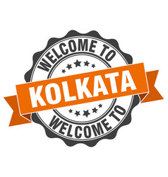 Kolkata round ribbon seal vector