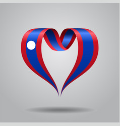 laos flag heart-shaped ribbon vector image