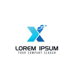 letter x logo technology design concept template vector image