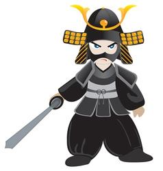 Little samurai cartoon vector