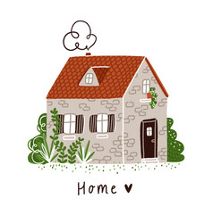 little stone bricks country house with plants and vector image