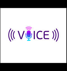music logotype with text - voice microphone vector image