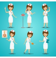 Nurse Character Set vector image