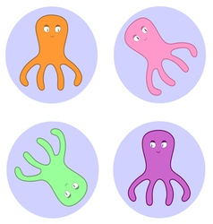 octopuses in circles vector image