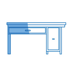Office desk work furniture wooden design vector