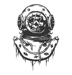 Old diving helmet vector