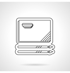 Painting album and brushes flat line icon vector