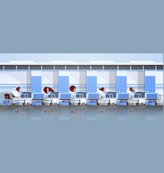 patients lying in bed intensive therapy ward vector image