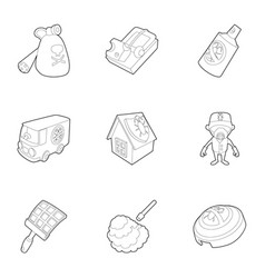 Pest extermination icons set outline style vector