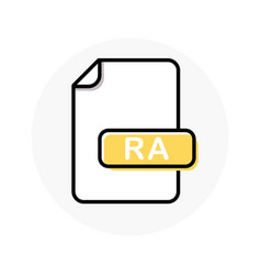 Ra file format extension color line icon vector
