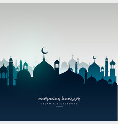 Ramadan kareem greeting card with mosques vector