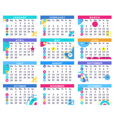 Scheduling calendar for 2019 template design vector